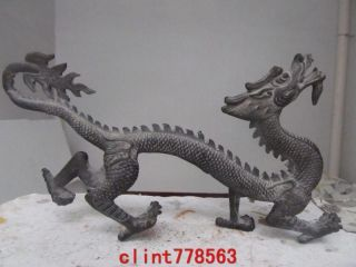 Chinese Folk Favorites Bronze Fly Dragon Statues photo
