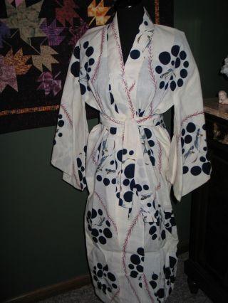 Vtg 1940s~50s Japanese Linen~cotton Kimono~koi Fish photo