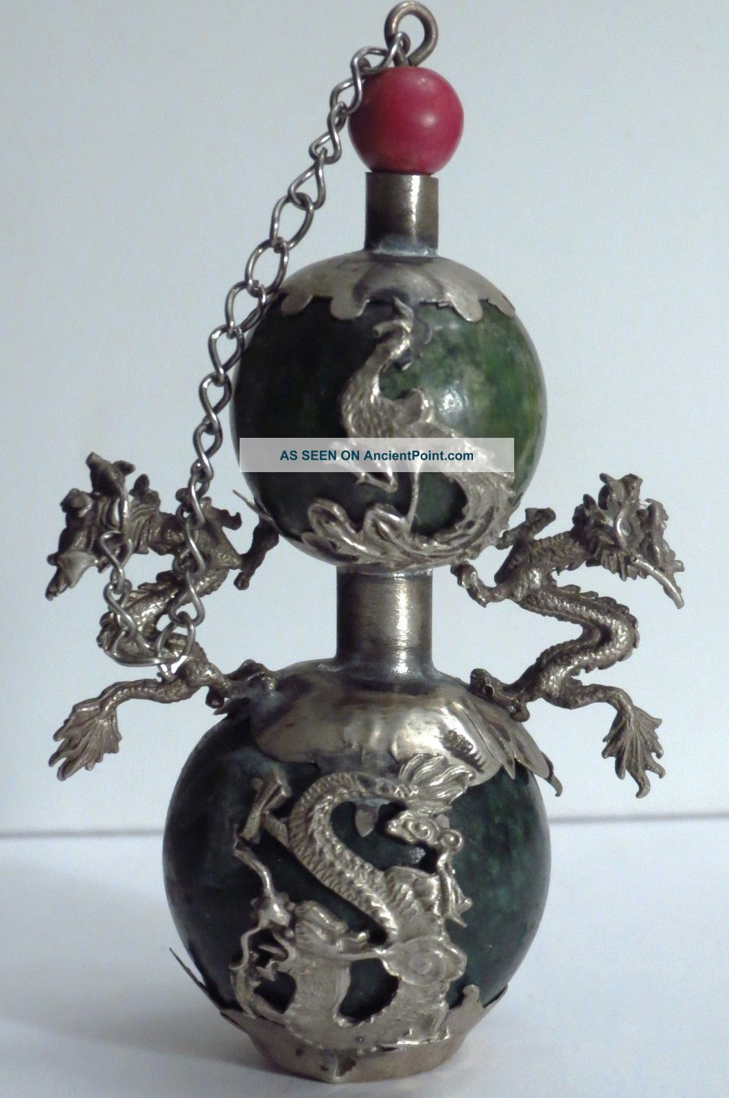 Rare Asian Antique Chinese Green Jade Silver Snuff Bottle With Dragons Boxes photo