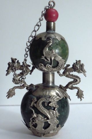 Rare Asian Antique Chinese Green Jade Silver Snuff Bottle With Dragons photo