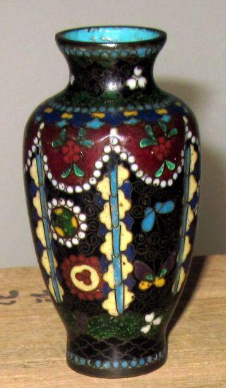 Antique Japanese Meiji Cloisonne Small Lobed Cabinet Vase - photo
