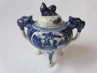 Japanese Kutani Ware Incense Burner Koro W/sign/ Blue & White Porcelain/ 607 photo