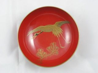 Antique Japanese Lacquer Bowl Crane And Pine 1900 - 15 Meiji Handpainted Nr 2627c photo