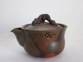 Japanese Vintage Bizen Ware Teapot Hobin W/sign; Work/ Dragon/ 233 photo
