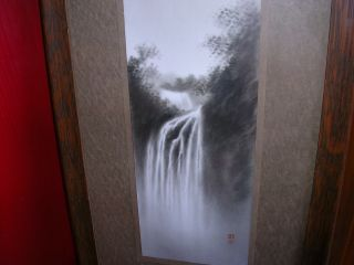 Fantastic Japanese Antique Sumi - E Waterfall Magical Artist Signed Frame photo