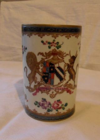 Exquiste 18th Century Chinese Famille Rose & Gilt Porcelain Armorial Tankard photo