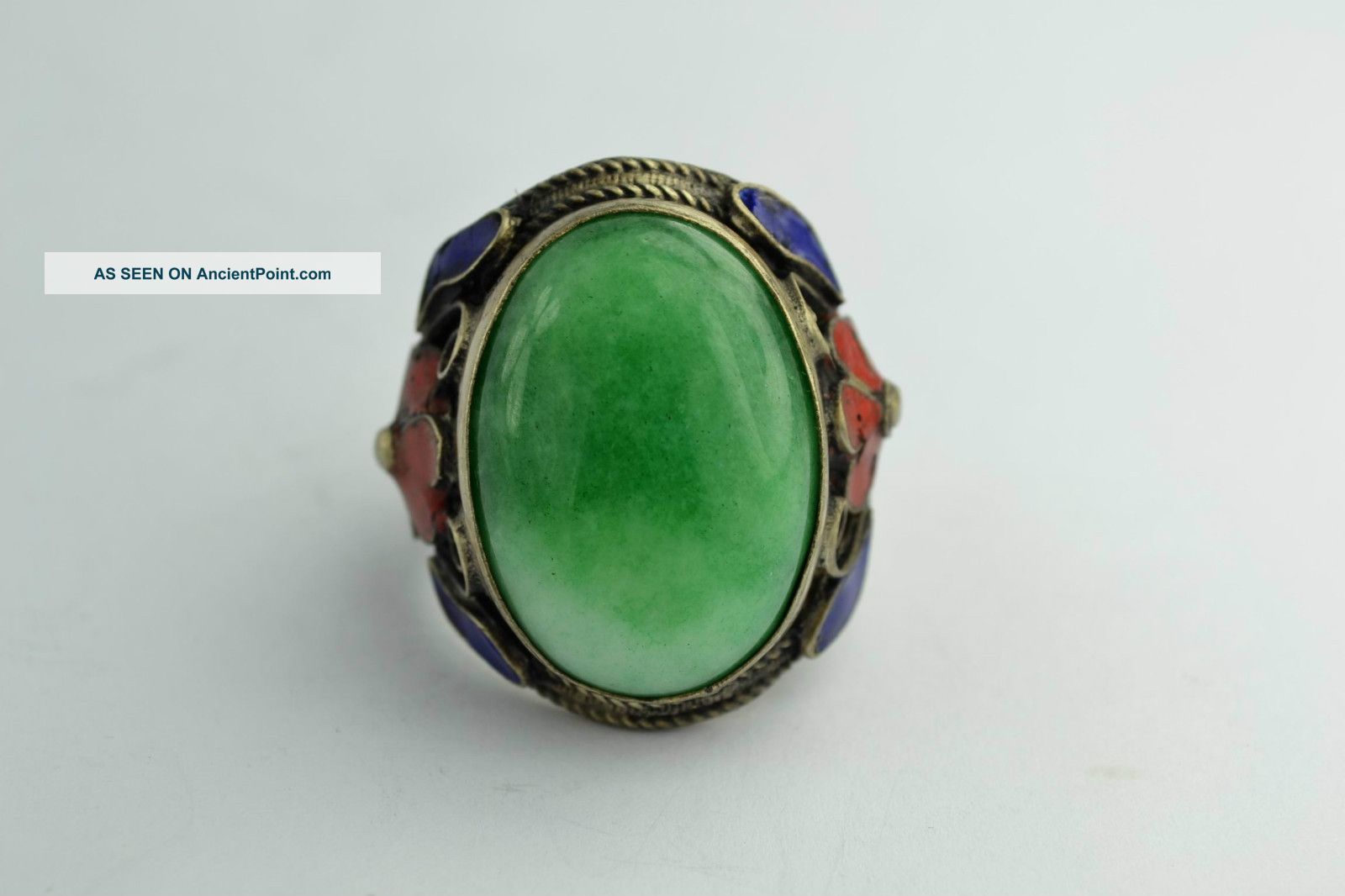 - China Collectibles Old Handwork Jadeite Cloisonne Flower Ring Native American photo