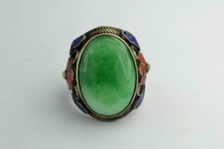 - China Collectibles Old Handwork Jadeite Cloisonne Flower Ring photo