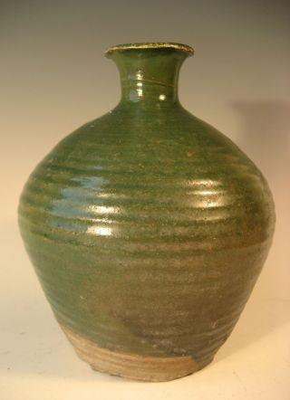 Thai Thailand Sawankaloke Green Glazed Relief Decor Pottery Vase Ca.  16th C. photo