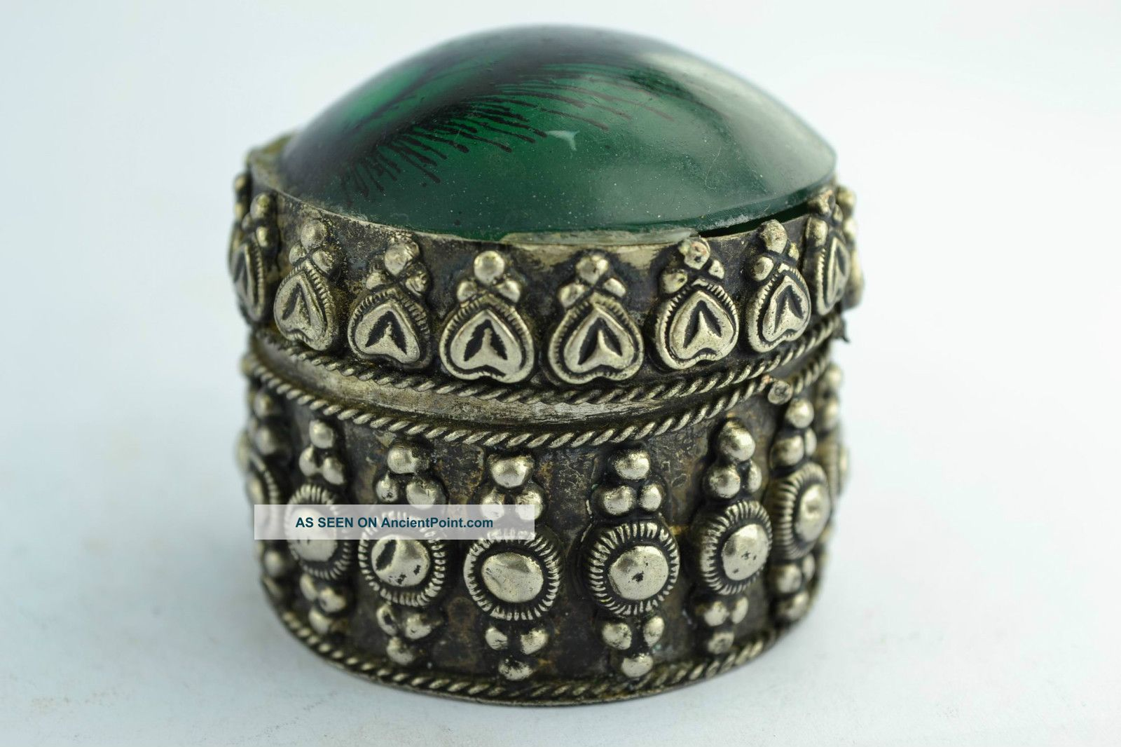 China Rare Collectibles Old Handwork Tibet - Silver & White Copper Ring Box +++++ Boxes photo