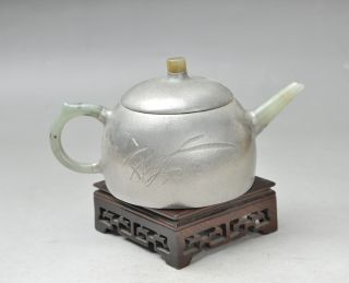 Antique 19th Century Chinese Yixing Teapot Hotan Jade Inlaid photo