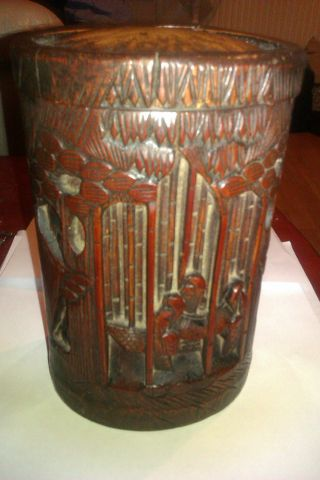 Antique Highly Carved Chinese Imortals Bamboo Lidded Vase photo