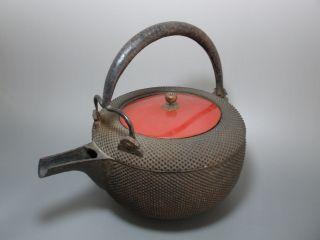 Japanese Iron With Urushi Lid Saketsugui Arare Pattern Kettle Tetsubin photo
