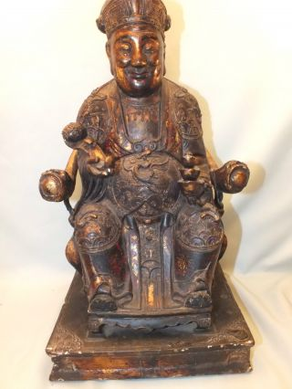 Lrg Chinese Wood & Gesso Lacquered Figure Of A Dignitary Sat On A Throne 19thc photo