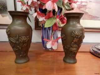 Pr Japanese Meiji Period Bronze Mixed Metal Vases Cranes,  Chrysanths & Flowers photo