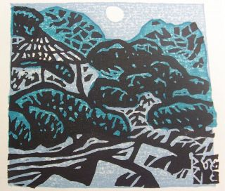 Japanese Woodblock Print In Blues Home In The Woods? photo