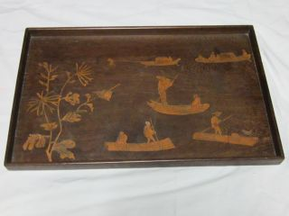 Antique Chinese Inlay Wood Tray - Boats,  Birds,  Flowers,  People - Marked photo
