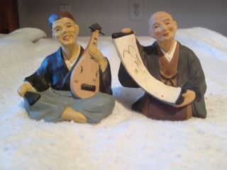 Vintage Antique Matching Hand Painted Japanese Musicians Pottery photo