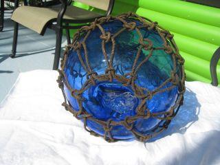 Antique Japanese Glass Fish Net Floats - Dark Deep Blue - Large photo