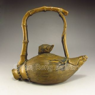 Chinese Bronze Teapot W Qian Long Mark Nr photo