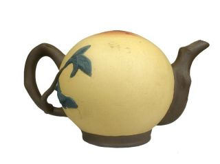 Chinese Interesting Peach Shaped Clay Teapot W/ Mark,  Water Goes From Bottom photo