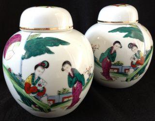 Pair Of Vintage Chinese Porcelain Ginger Jars Enamelled Famille Verte photo