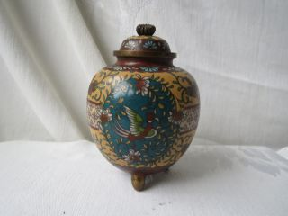 Japanese Cloisonne Meiji Period Rare Color Eagle Bird Footed Ginger Jar Vase photo