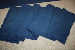 Japanese Old Antique Indigo Dye Cottontextile Fabric 1900 - 1940 2 Pieces photo