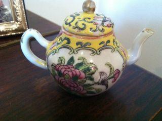 Antique 19th Century Porcelaine Famille Rose Medallion Canton Miniature Teapot photo