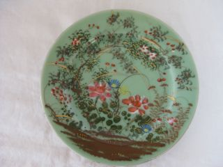Chinese Celadon Plate,  Heavy,  Hand Painted With Gilding,  Unmarked photo