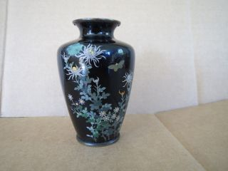 Antique Japanese Cloisonne Meiji Period Wireless Design Butterfly Vase Nr photo