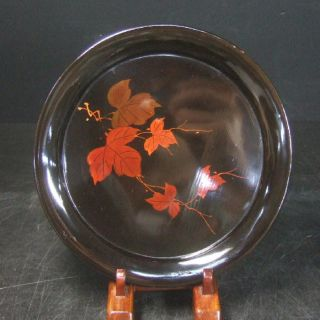 F270: Japanese Yakumo Lacquer Ware Tea - Thing Plate With Flower 5/5 photo