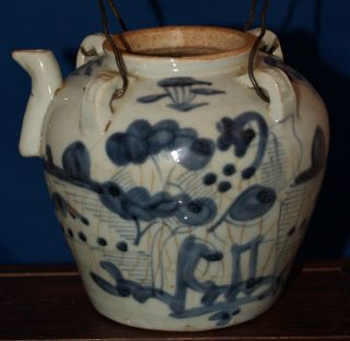 Rare Antique Chinese Blue And White Teapot 19th Century Or Earlier photo