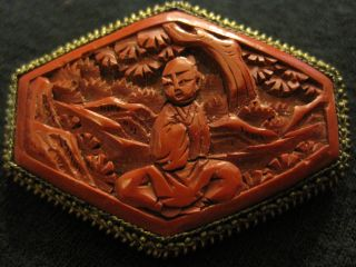 Chinese Antique Export Cinnabar Red Broach China Marked Estate Asian Oriental photo