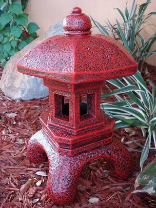 Pagoda Oriental Stone Concrete Lantern Japanese Antique Decor Gift Unique photo