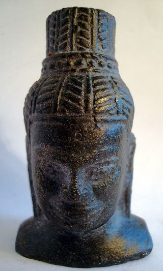 Classic And Lovely Little Khmer Cambodia,  Bronze Buddha Head Statue,  Antiquity photo