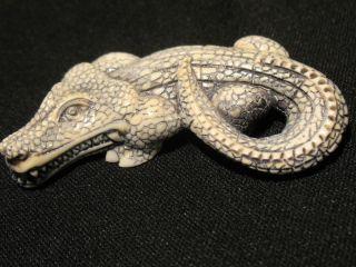 Antique Japanese Ox Bone Okimono Netsuke Of A Crocodile Alligator photo