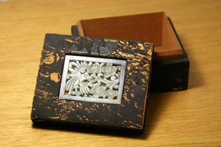 Antique 19c.  Chinese Wooden Box W/ Carved Jade Plaque photo