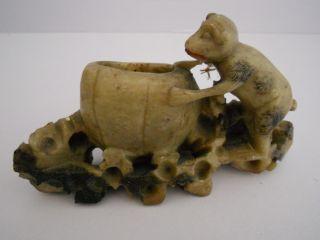 Old Carved Soapstone Brush Pot With Monkey Figure photo