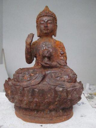 China Folk Old Iron Sit Amitayus Sakyamuni Buddha photo