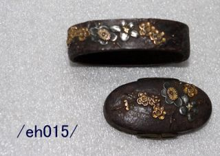 Fuchi - Kashira For Samurai Katana,  Plum Flower,  Edo,  Copper/eh015/ photo