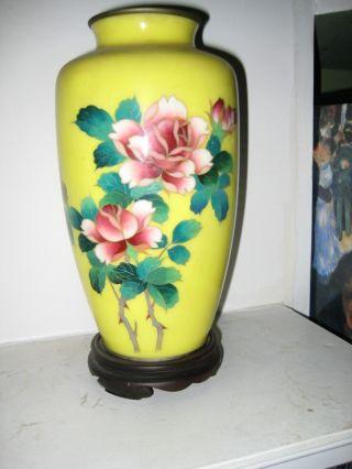 Japanese Cloisonne Rose Vase - W/ Stand photo