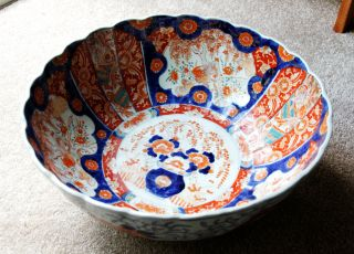 Spectacular Large Antique Imari Bowl W Scalloped Rim - Japan 1890 - 1910 photo