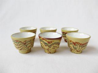 Japanese Tokoname Ware Sencha Tea Cups 6set/ Tasteful Marble Pattern/ 552 photo