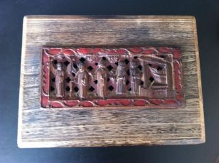 One Of A Kind Asian Antique Wood Craving Box Rare photo