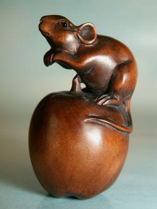 Mouse On Apple - Gorgeous Wood Netsuke Uk485 photo