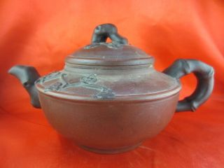 Chinese Antique Rare Yixing Teapot Bamboo Branch Handle Plum Flowers Carving photo