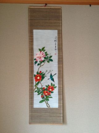162 ~camellia And A Bird~ Antique Hanging Scroll photo