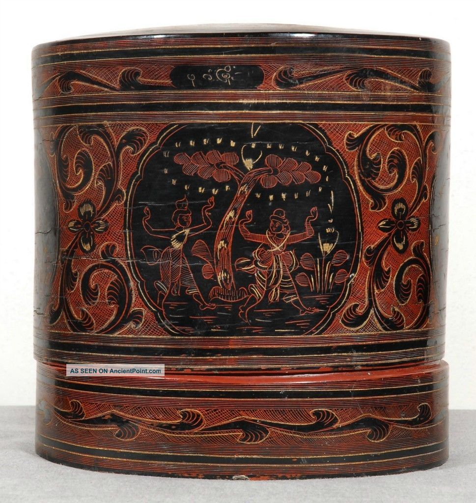 Asia - Myanmar/burma.  Antique Lacquerware.  Turn Of Century Betel Box. Boxes photo