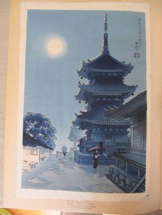Woodblock Print By Benji Asada - Pagoda Of Kiyomizu Temple,  Misty Moon photo